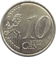 reverse of 10 Euro Cent (2009 - 2015) coin with KM# 98 from Slovakia. Inscription: 10 EURO CENT LL