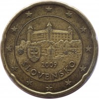 obverse of 20 Euro Cent (2009 - 2015) coin with KM# 99 from Slovakia. Inscription: 2009 SLOVENSKO