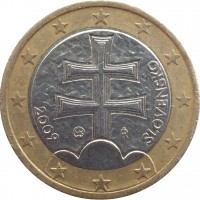 obverse of 1 Euro (2009 - 2015) coin with KM# 101 from Slovakia. Inscription: IŘ 2009 SLOVENSKO