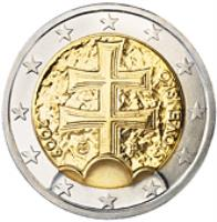 obverse of 2 Euro (2009 - 2015) coin with KM# 102 from Slovakia. Inscription: SLOVENSKO 2009 IR