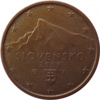 obverse of 2 Euro Cent (2009 - 2015) coin with KM# 96 from Slovakia. Inscription: SLOVENSKO 2009