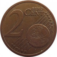 reverse of 2 Euro Cent (2009 - 2015) coin with KM# 96 from Slovakia. Inscription: 2 EURO CENT LL