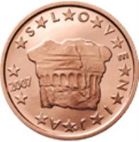 obverse of 2 Euro Cent (2007 - 2014) coin with KM# 69 from Slovenia. Inscription: S L O V E N I J A 2007