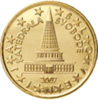obverse of 10 Euro Cent - 2'nd Map (2007 - 2014) coin with KM# 71 from Slovenia. Inscription: KATEDRALA SVOBODE SLOVENIJA 2007