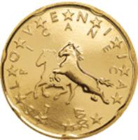 obverse of 20 Euro Cent - 2'nd Map (2007 - 2014) coin with KM# 72 from Slovenia. Inscription: LIPICANEC S L O V E N I J A 2007