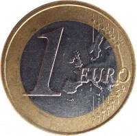 reverse of 1 Euro - 2'nd Map (2007 - 2014) coin with KM# 74 from Slovenia. Inscription: 1 EURO LL