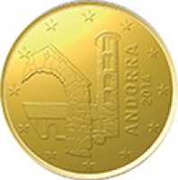 obverse of 10 Euro Cent - Joan Enric Vives i Sicília (2014) coin with KM# 523 from Andorra. Inscription: ANDORRA 2014