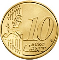 reverse of 10 Euro Cent - Joan Enric Vives i Sicília (2014) coin with KM# 523 from Andorra. Inscription: 10 EURO CENT LL