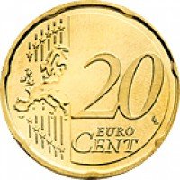reverse of 20 Euro Cent - Joan Enric Vives i Sicília (2014) coin with KM# 524 from Andorra. Inscription: 20 EURO CENT LL
