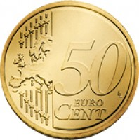 reverse of 50 Euro Cent - Joan Enric Vives i Sicília (2014) coin with KM# 525 from Andorra. Inscription: 50 EURO CENT LL