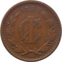 reverse of 1 Centavo (1905 - 1949) coin with KM# 415 from Mexico. Inscription: 1929 1¢ M
