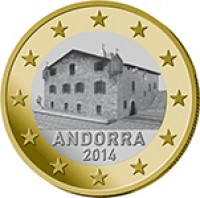 obverse of 1 Euro - Joan Enric Vives i Sicília (2014) coin with KM# 526 from Andorra. Inscription: ANDORRA 2014