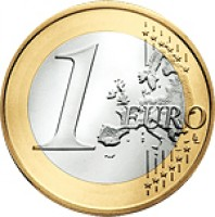 reverse of 1 Euro - Joan Enric Vives i Sicília (2014) coin with KM# 526 from Andorra. Inscription: 1 EURO LL