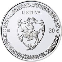 obverse of 20 Euro - 500th anniversary of the birth of Mikalojus Radvila Juodasis (2015) coin with KM# 214 from Lithuania. Inscription: LIETUVA 2015 20 €