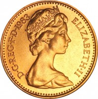 obverse of 1/2 Penny - Elizabeth II - 2'nd Portrait (1982 - 1984) coin with KM# 926 from United Kingdom. Inscription: D · G · REG · F · D · 1983 ELIZABETH · II
