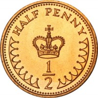 reverse of 1/2 Penny - Elizabeth II - 2'nd Portrait (1982 - 1984) coin with KM# 926 from United Kingdom. Inscription: HALF PENNY ½