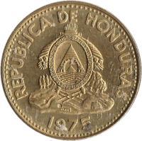 obverse of 5 Centavos (1975 - 1989) coin with KM# 72.2a from Honduras. Inscription: REPUBLICA DE HONDURAS REPªDE · HONDURAS · LIBRE · SOBERANA · INDEPENDIENTE · 15 SEPTBRE 1821 · 1989