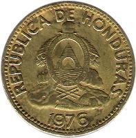 obverse of 10 Centavos (1976 - 1995) coin with KM# 76a from Honduras. Inscription: REPUBLICA DE HONDURAS REPªDE · HONDURAS · LIBRE · SOBERANA · INDEPENDIENTE 15 SEPTBRE 1821 1994