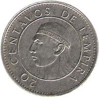 reverse of 20 Centavos (1978 - 1990) coin with KM# 83 from Honduras. Inscription: 20 CENTAVOS DE LEMPIRA