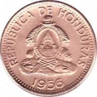 obverse of 2 Centavos (1939 - 1956) coin with KM# 78 from Honduras. Inscription: REPUBLICA DE HONDURAS 1956
