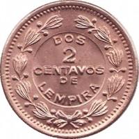 reverse of 2 Centavos (1939 - 1956) coin with KM# 78 from Honduras. Inscription: DOS 2 CENTAVOS DE LEMPIRA