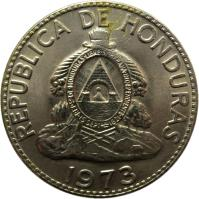 obverse of 50 Centavos - FAO (1973) coin with KM# 82 from Honduras. Inscription: REPUBLICA DE HONDURAS 1973
