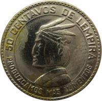reverse of 50 Centavos - FAO (1973) coin with KM# 82 from Honduras. Inscription: 50 CENTAVOS DE LEMPIRA PRODUZCAMOS MAS ALIMENTOS