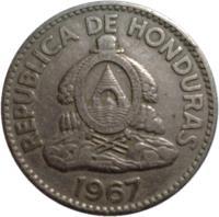 obverse of 50 Centavos (1967) coin with KM# 80 from Honduras. Inscription: REPUBLICA DE HONDURAS 1967