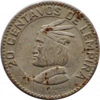 reverse of 20 Centavos (1967) coin with KM# 79 from Honduras. Inscription: 20 CENTAVOS DE LEMPIRA