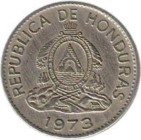 obverse of 20 Centavos (1973) coin with KM# 81 from Honduras. Inscription: REPUBLICA DE HONDURAS 1973
