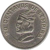 reverse of 20 Centavos (1973) coin with KM# 81 from Honduras. Inscription: 20 CENTAVOS DE LEMPIRA