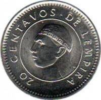 reverse of 20 Centavos (1991 - 2010) coin with KM# 83a from Honduras. Inscription: 20 CENTAVOS DE LEMPIRA