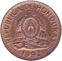 obverse of 1 Centavo (1974 - 1998) coin with KM# 77a from Honduras. Inscription: REPUBLICA DE HONDURAS REPªDE · HONDURAS · LIBRE · SOBERANA · INDEPENDIENTE · 15 SEPTBRE 1821 · 1992