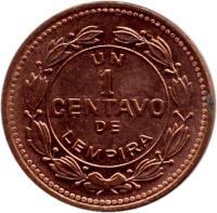 reverse of 1 Centavo (1988) coin with KM# 77b from Honduras. Inscription: UN 1 CENTAVO DE LEMPIRA