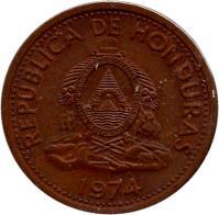obverse of 2 Centavos (1974) coin with KM# 78a from Honduras. Inscription: REPUBLICA DE HONDURAS 1974 Repca de · honduras · libre · soberana · independiente. 15 septbre 1821 ·