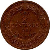 reverse of 2 Centavos (1974) coin with KM# 78a from Honduras. Inscription: DOS 2 CENTAVOS DE LEMPIRA