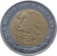 obverse of 1 Nuevo Peso (1992 - 1995) coin with KM# 550 from Mexico. Inscription: ESTADOS UNIDOS MEXICANOS
