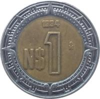 reverse of 1 Nuevo Peso (1992 - 1995) coin with KM# 550 from Mexico. Inscription: 1994 N$ 1