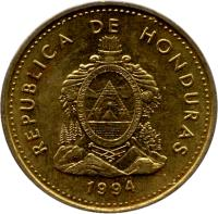 obverse of 5 Centavos (1993 - 1994) coin with KM# 72.3 from Honduras.