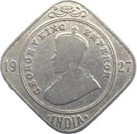 obverse of 2 Annas - George V (1918 - 1936) coin with KM# 516 from India. Inscription: GEORGE V KING EMPEROR 19 18 · INDIA ·