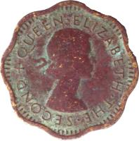 obverse of 2 Cents - Elizabeth II - 1'st Portrait (1955 - 1957) coin with KM# 124 from Ceylon. Inscription: + QUEEN · ELIZABETH · THE · SECOND