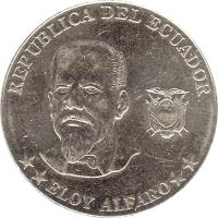 obverse of 50 Centavos (2000) coin with KM# 108 from Ecuador. Inscription: REPUBLICA DEL ECUADOR ** ELOY ALFARO **