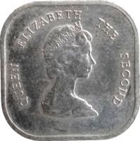 obverse of 2 Cents - Elizabeth II - 2'nd Portrait (1981 - 2000) coin with KM# 11 from Eastern Caribbean States. Inscription: QUEEN ELIZABETH THE SECOND