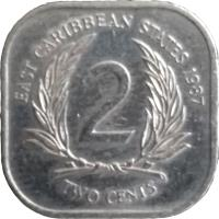 reverse of 2 Cents - Elizabeth II - 2'nd Portrait (1981 - 2000) coin with KM# 11 from Eastern Caribbean States. Inscription: EAST CARIBBEAN STATES 1992 2 TWO CENTS