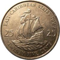 reverse of 25 Cents - Elizabeth II - 2'nd Portrait (1981 - 2000) coin with KM# 14 from Eastern Caribbean States. Inscription: EAST CARIBBEAN STATES 1989 25 25 TWENTY FIVE CENTS
