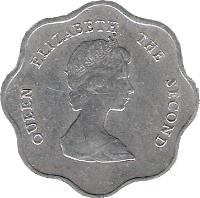 obverse of 5 Cents - Elizabeth II - 2'nd Portrait (1981 - 2000) coin with KM# 12 from Eastern Caribbean States. Inscription: QUEEN ELIZABETH THE SECOND