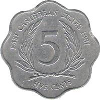 reverse of 5 Cents - Elizabeth II - 2'nd Portrait (1981 - 2000) coin with KM# 12 from Eastern Caribbean States. Inscription: EAST CARIBBEAN STATES 1995 5 FIVE CENTS