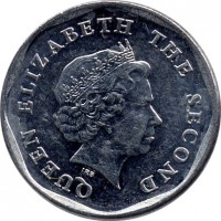 obverse of 1 Cent - Elizabeth II - 4'th Portrait (2002 - 2013) coin with KM# 34 from Eastern Caribbean States. Inscription: QUEEN ELIZABETH THE SECOND IRB
