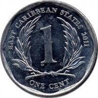 reverse of 1 Cent - Elizabeth II - 4'th Portrait (2002 - 2013) coin with KM# 34 from Eastern Caribbean States. Inscription: EAST CARIBBEAN STATES 2004 1 ONE CENT