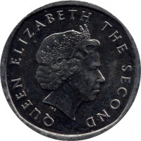 obverse of 2 Cents - Elizabeth II - 4'th Portrait (2002 - 2011) coin with KM# 35 from Eastern Caribbean States. Inscription: QUEEN ELIZABETH THE SECOND